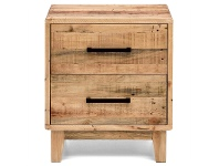 LivingStyles Portland Solid Recycled Pine Timber 2 Drawer Bedside Table