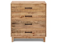 LivingStyles Portland Solid Recycled Pine Timber 4 Drawer Tallboy