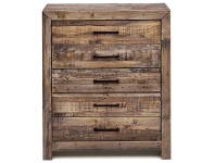 LivingStyles Boston Recycled Pine Timber 5 Drawer Tallboy