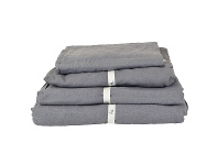LivingStyles Taj French Linen Flat Sheet, Queen, Charcoal