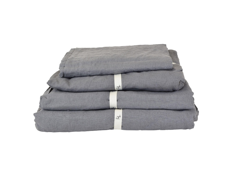 Taj French Linen Fitted Sheet, Queen, Charcoal