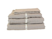 LivingStyles Taj French Linen Fitted Sheet, Queen, Natural