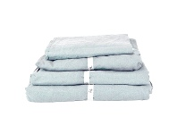 LivingStyles Taj French Linen Fitted Sheet, Queen, Blue
