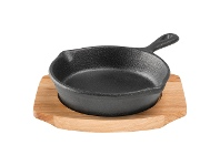 LivingStyles Pyrolux Pyrocast 10cm Skillet with Maple Tray