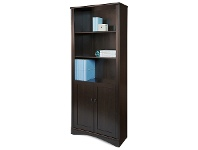 LivingStyles Cubic Bookcase with Doors, Cinnamon Cherry