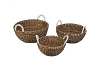 LivingStyles Rolleston 3 Piece Woven Seagrass Basket Set