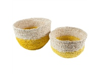 LivingStyles Fishley Woven Raffia Basket Set, Natural/Yellow