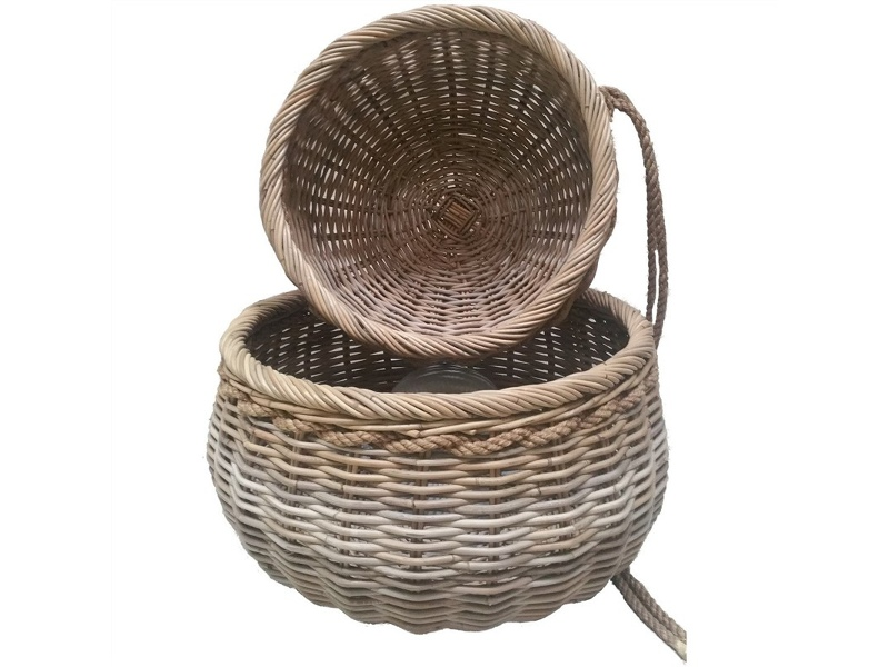 Acle 2 Piece Oversized Rattan Basket Set