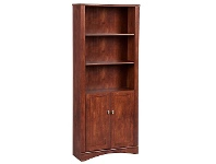 LivingStyles Cubic Bookcase with Doors, Brushed Maple