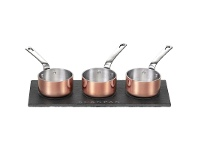 LivingStyles Scanpan Maitre D Set of 3 Mini Sauce Pots with Slate Serving Tray