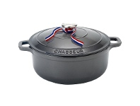 LivingStyles Chasseur Cast Iron Round French Oven, 28cm, Caviar