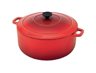 LivingStyles Chasseur Cast Iron Round French Oven, 28cm, Inferno Red