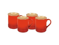 LivingStyles Chasseur La Cuisson 4 Piece 350ml Mug Set - Red