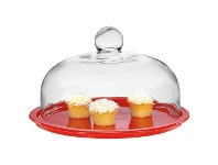 LivingStyles Chasseur La Cuisson Cake Platter with Lid - Red