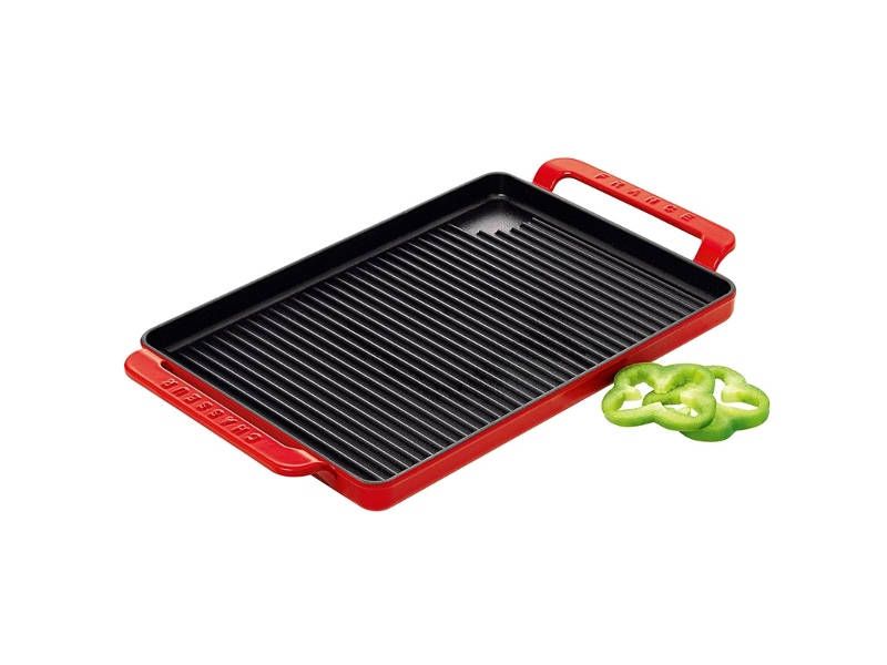 Chasseur Cast Iron Rectangular Grill, 42x24cm, Inferno Red