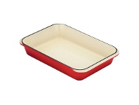 LivingStyles Chasseur Cast Iron Rectangular Roaster, 40x26cm, Inferno Red