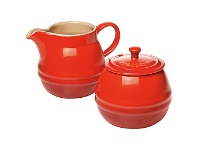 LivingStyles Chasseur La Cuisson Sugar Bowl and Creamer Set - Red