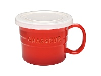 LivingStyles Chasseur La Cuisson Soup Mug with Lid, 500ml, Red