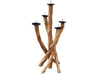 LivingStyles Alexis Teak Root Timber Candlabra