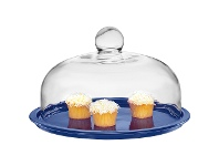 LivingStyles Chasseur La Cuisson Cake Platter with Lid - Blue
