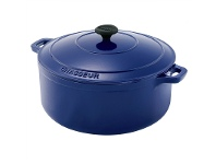 LivingStyles Chasseur Cast Iron Round French Oven, 28cm, French Blue