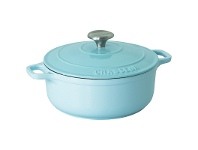 LivingStyles Chasseur Cast Iron Round French Oven, 28cm, Duck Egg Blue