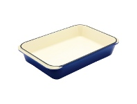 LivingStyles Chasseur Cast Iron Rectangular Roaster, 40x26cm, French Blue