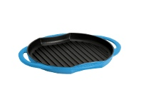 LivingStyles Chasseur Cast Iron Round Grill, 26cm, Riviera Blue
