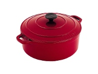 LivingStyles Chasseur Cast Iron Round French Oven, 22cm, Federation Red