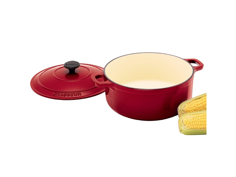 Chasseur Cast Iron Round French Oven, 24cm, Federation Red