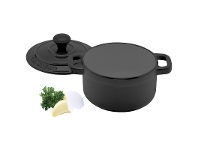 LivingStyles Chasseur Cast Iron Round French Oven, 10cm, Matte Black