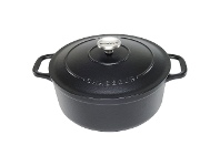 LivingStyles Chasseur Cast Iron Round French Oven, 26cm, Matte Black