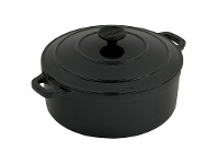 LivingStyles Chasseur Cast Iron Round French Oven, 32cm, Matte Black