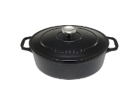 LivingStyles Chasseur Cast Iron Oval French Oven, 27cm, Matte Black