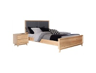 LivingStyles Eklund American White Oak Timber Bed, Queen