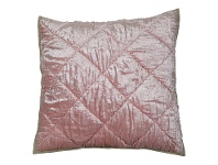 LivingStyles Kensington Quilted Velvet Euro Cushion Cover, Blush