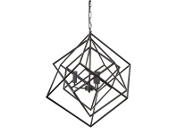 LivingStyles Tribecca Iron Pendant Light, Medium, Black