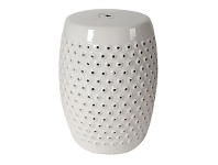 LivingStyles Shelly Ceramic Decorative Stool, White