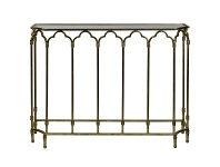 LivingStyles Windsor Glass Top Metal Console Table