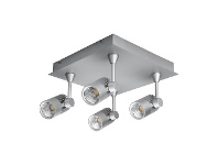 LivingStyles Jet LED Square Plate Spotlight, 4 Light, 5000K, Silver
