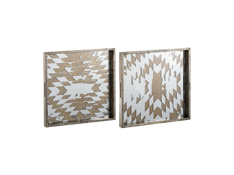 Dreyer 2 Piece Mirrored Square Tray Set
