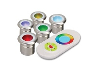 LivingStyles Evergreen Vivid Pack of 5 RGB LED Deck Lights with RF Colour Controller