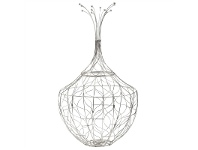 LivingStyles Piper Iron Wire Basket, Small, Silver