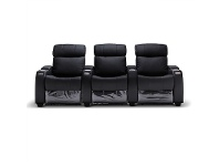LivingStyles Anna Genuine Leather 3 Seater Electric Recliner Sofa, Black