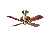 LivingStyles Hunter Bayport Antique Brass Ceiling Fan with Rosewood / Medium Oak Switch Blades