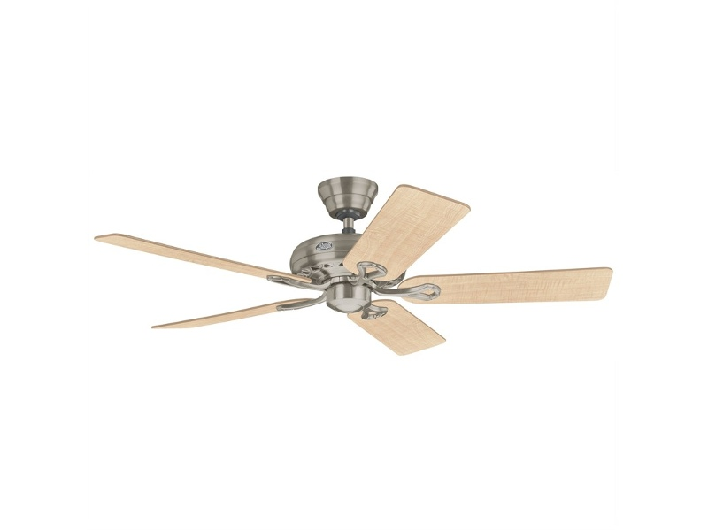 Hunter Savoy Commercial Grade Brushed Nickel Ceiling Fan with Maple / Cherry Switch Blades