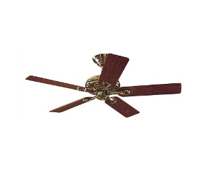 Hunter Savoy Bright Brass Ceiling Fan with Rosewood / Oak Switch Blades