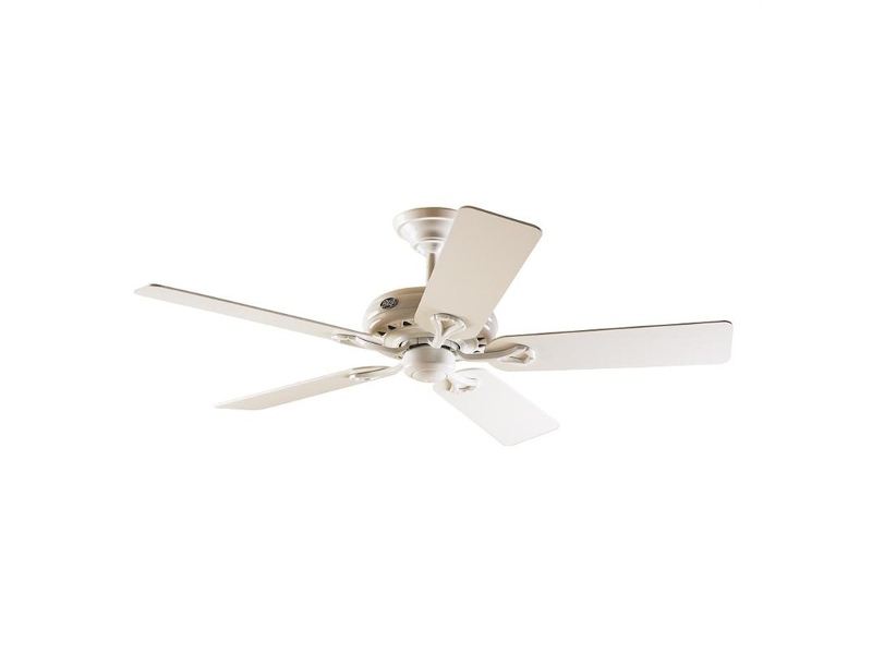 Hunter Savoy Commercial Grade White Ceiling Fan with White / Light Oak Switch Blades