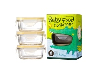 LivingStyles Glasslock 3 Piece Rectangular Baby Food Container Set