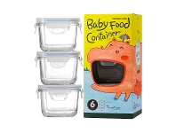 LivingStyles Glasslock 3 Piece Square Baby Food Container Set